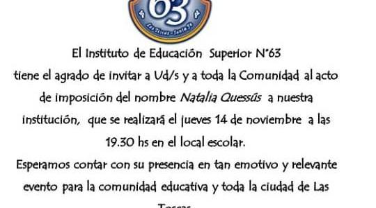 Invitación desde el Instituto Superior nro 63