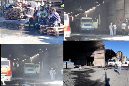 Incendio en la Papelera de Tacuarendi. Situación en horas de la mañana