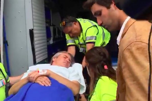 Fulvio Rossi, tras el ataque y antes de ser trasladado al hospital.