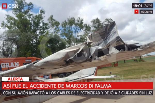 Marcos Di Palma se cayó con su avión y dejó a dos ciudades sin luz