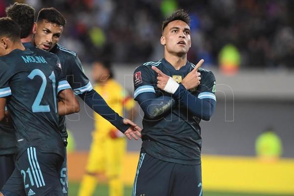 Martínez, el goleador en la noche de Núñez frente a Perú. Foto: Maximiliano Luna